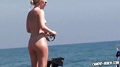 Sexy nudist babes at the beach are playing on camera