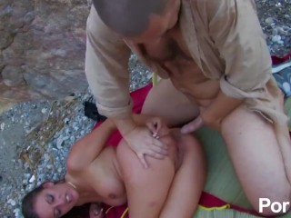 Leggy French babe gets plowed on rocky beach