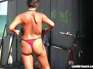 Naked brunette woman nude beach candid video