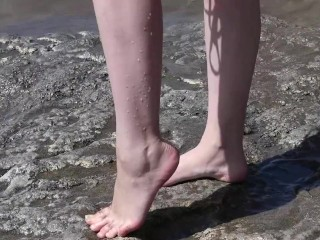 Porno of thin nude chicks on a nudist beach relaxing and tal