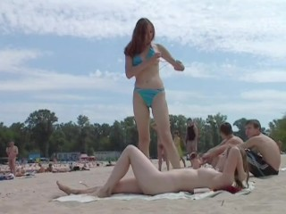 Hot babes filmed lounging on a nudist beach